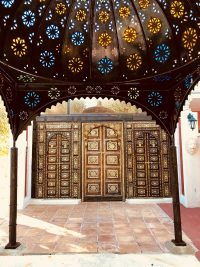 Moorish doors opening to the hotel