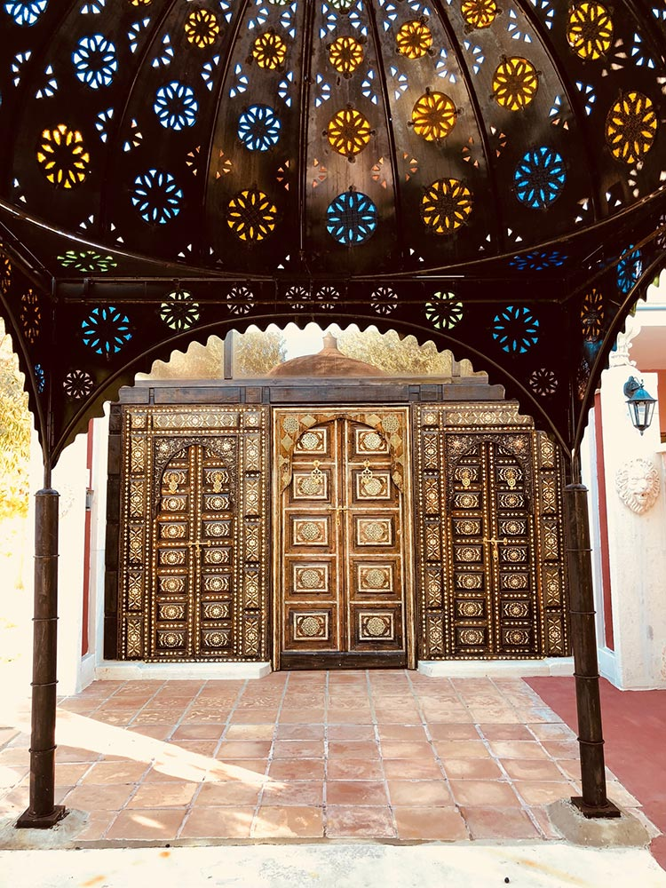 Moorish doors opening to the hotel