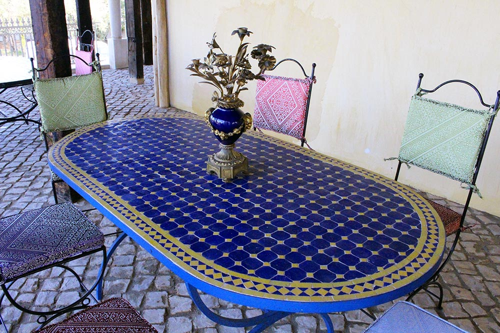 Mosaic table of the bar